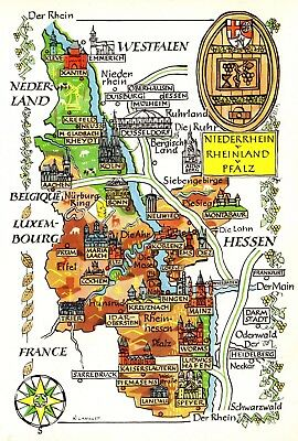 Vintage Germany Map Picture Map of Rhineland Palatinate Pictorial Map Fra 4474