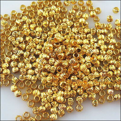 50 New Charms Loose Pumpkin Ball Copper Spacer Beads Gold Plated 4mm