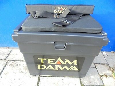 Team daiwa seat box complete with padded strap and cushion.