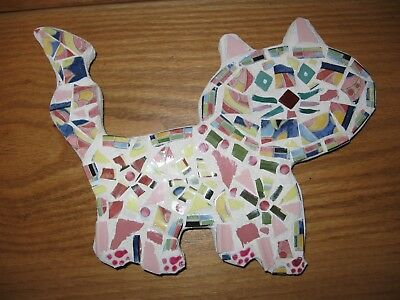 New Handcrafted Medium Mosaic Cat Wall Hanging Made w Pottery Pieces