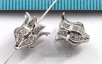 1x Rhodium plated STERLING SILVER CZ FLOWER BUD FLORAL BEAD TASSEL CAP #2836