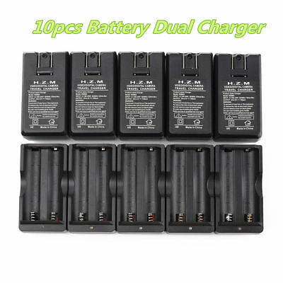 10PCS US Plug Dual Charger Use For 3.7v BRC Li-ion Rechargeable 18650 Battery
