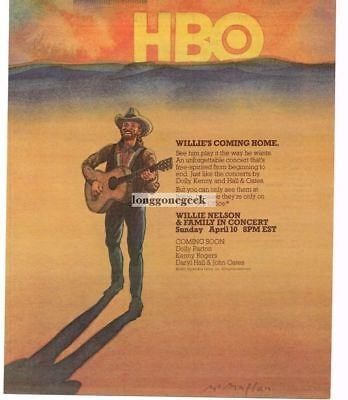 1983 WILLIE NELSON In Concert on HBO Vtg TV Television Promo Print Ad