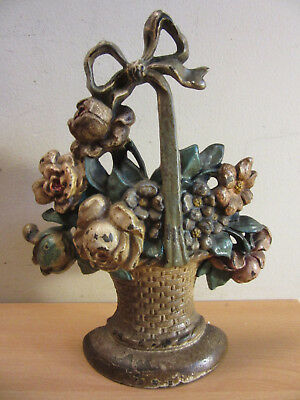 Antique Hubley #121 Potted Flower basket with bow Cast Iron Doorstop Orig Paint