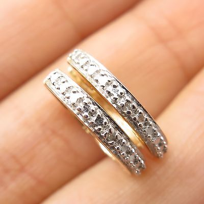 72739da47 Ross Simons 925 Silver Gold Plated Diamond Accent Small Huggie Earrings