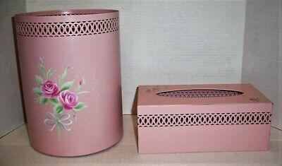Pink Rose Vintage Style Toleware Bath Tissue Box & Trash Can, Shabby Chic