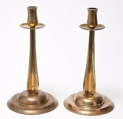 Pair of Antique Arts & Crafts / Nouveau Brass Candlesticks with Cross Columns