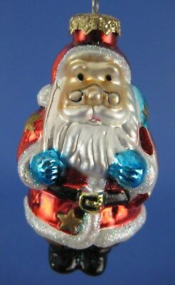 Santa Claus Glass Christmas Tree Ornament Thomas Pacconi Patriotic American Flag