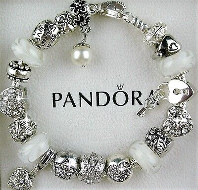 Authentic Pandora Charm Bracelet with Heart Love White European Charms Beads