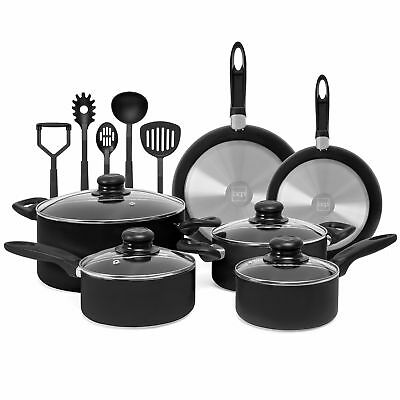 BCP 15-Piece Nonstick Kitchen Pots & Pans Set w/ BPA Free Utensils
