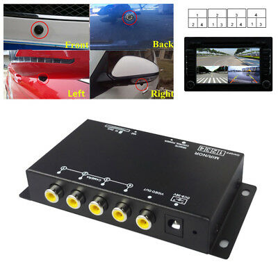 360° Monitoring 4-Way Car Parking View Camera VCR Image Split-Screen Control Box