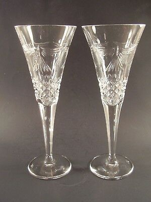 WATERFORD Crystal PEACE Millennium TOASTING Champagne FLUTES Set Of 2 MINT!