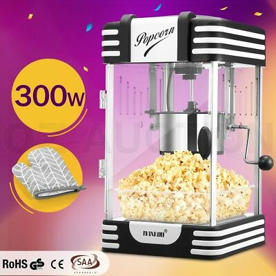 Maxkon Popcorn Machine 300W Electric Home Popper Maker w/Measuring Spoon - Black