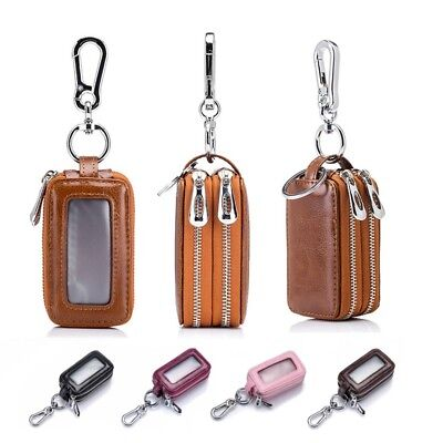 Genuine Leather Double Zip Men's Woman Car Key Bag Auto Remote Holder Case Cover
