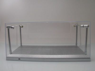 klarsichtbox (Display Cabinet) with LED Lighting Silver for 1:18 Model Cars,
