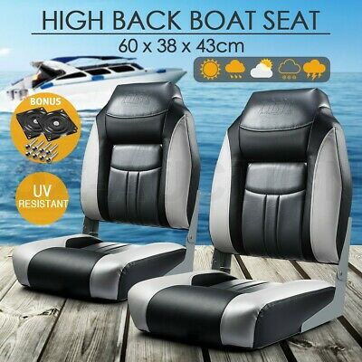 OGL Set of 2 Folding Marine Fishing Folding Boat Seats All weather Swivel Chairs