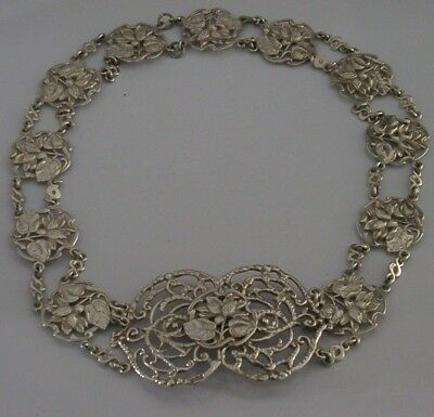 Solid Sterling Silver Art Nouveau Nurses / Ladies Belt And Buckle 1901 Antique