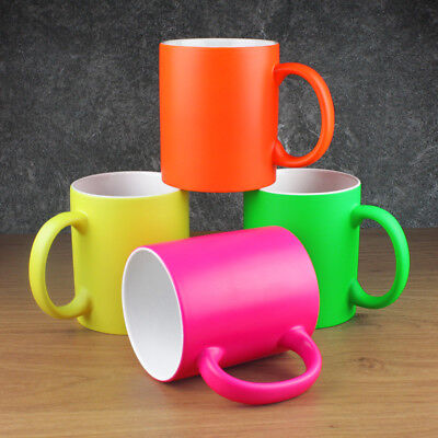 Pack of 4 Bright Neon Fluorescent Mug's Cup's (4 Same or 4 Mixed Colour option)