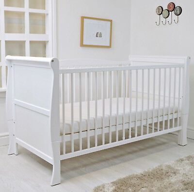 Cuddles Collection 3 In 1 White Sleigh Cot Bed  With Foam Safety Mattress