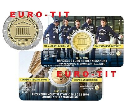 2017  BELGIQUE  UNIVERSITE  DE  GENT  1  COINCARD  RARE    2017     disponible