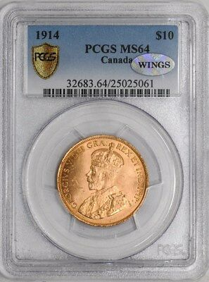 1914 $10 Canada Gold MS64 Secure Plus PCGS ~ WINGS