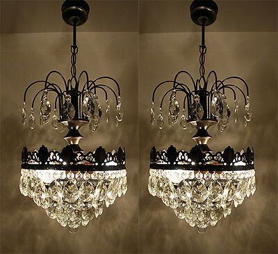 A Pair of French Basket Stye Brass & Crystals Chandeliers from 1950's