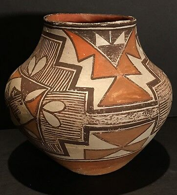 Acoma Polychrome Pottery Olla, Fabulous Shape & Design,Excellent Orig Cond,c1900