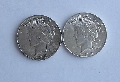 Two 1923 Silver PEACE Dollars~~Brilliant Uncirculated