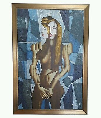 Vintage Cubism Portrait Original Oil on Canvas