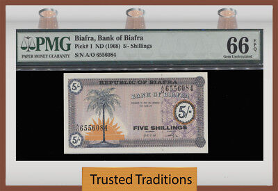 Tt Pk 1 Nd (1968) Biafra 5/-Shillings Pmg 66 Epq Gem Unc None Finer Known!