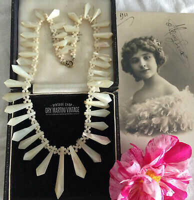 Antique Victorian Edwardian Mother Of Pearl Necklace In Gift Box Bridal Occasion