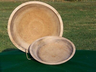 """Lot 2 Vintage Turned Wood Dough Mixing Bowls 8"""" & 11"""" Out Of Round Farm Find"""