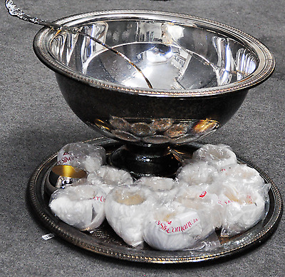 "Silver Plated Rogers 17"" Large Punch Bowl & Ladle Cup Tray Set 15 Pieces"
