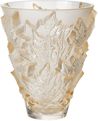 Lalique Champs Elysees Small Vase Gold Luster Brand New In Box #10598500 Crystal