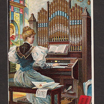 Estey Phonorium Organ Brattleboro Factory View Victorian Advertising Trade Card