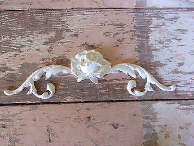 SHABBY n CHIC FURNITURE APPLIQUES * ARCHITECTURAL  SCROLLS w/ ROSE * STAINABLE