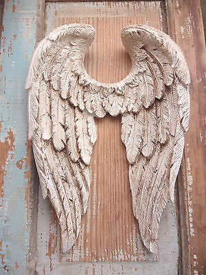 SHABBY & CHIC Angel Wings Vintage Finish Wall Decor- VINTAGE  White Finish!  NEW