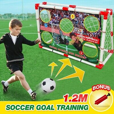 2 in 1 Kids Football Soccer Goals Target Training Practise Toys Set Ball & Pump