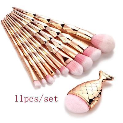 1/10pcs Kit Makeup Brushes Set Fish Tail Foundation Eyeshadow Cosmetic Brush LG