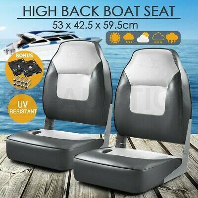 2 x Folding Marine OGL Fishing Boat Seats All-weather Swivel Chairs High Back