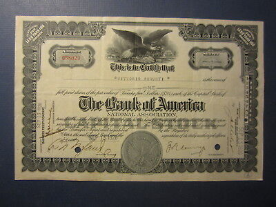 Old 1928 - BANK OF AMERICA - National Association - Stock Certificate