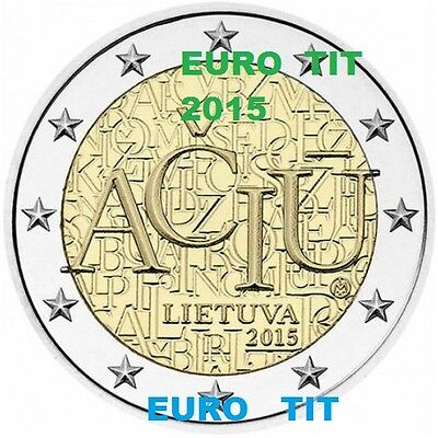 2 € LITUANIE COMMEMORATIVE  1  X  PIECE  2015  LANGUE  LITHUANIENNE   disponible
