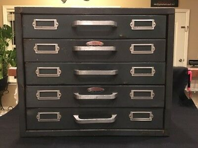 Vtg Parts Storage Bolt Bin Cabinet Steampunk Industrial Organizer Drawer USA