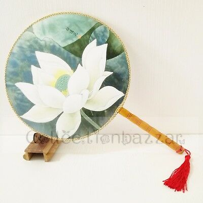 Chinese Bamboo Paddle Flower HAND FAN for Home Decor/Display / Dancing