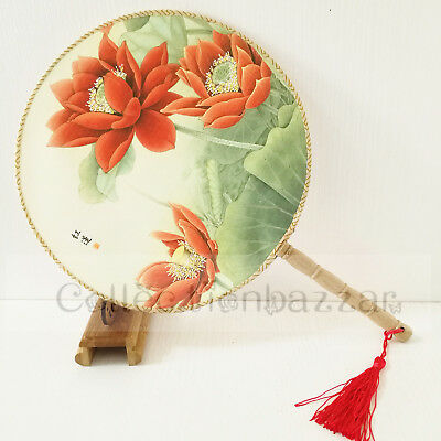 Chinese Bamboo Paddle Lotus HAND FAN for Home Decor/Display / Dancing