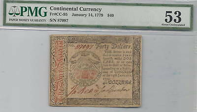 January 14, 1779 $40 Continental Colonial Currency FR#CC-95 : PMG 53