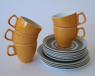 Vintage Retro 60s/70s MELMAC Hollywood TEA CUPS & SAUCERS Side Plates MELAMINE