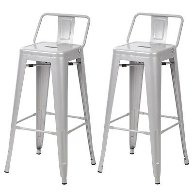 30'' Metal Frame Tolix Style Bar Stools Industrial Chair with Back,Set of 2