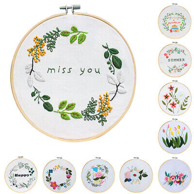 Bamboo Round Hoop Embroidery Cross Stitch Sewing Kit for Art Crafts DIY Gift