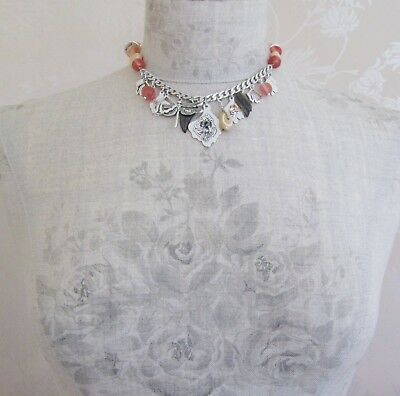 PILGRIM Vintage Necklace Dragonfly MOP Leaf Charms Silver & Pink Grey Nude BNWT